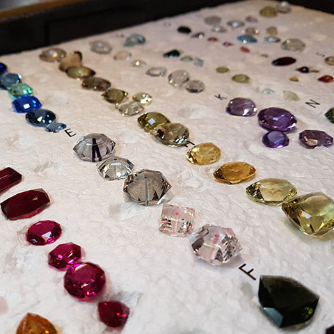 Stones displayed at gem show